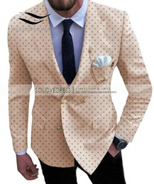 suits blazers pattern Australia - Men's Dot Suits Prom Notch Lapel Tuxedos 2 Piece Double Breasted Patterned Jacket For Wedding Groomsmen (Blazer+Pants)