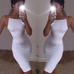 $enCountryForm.capitalKeyWord NZ - Sexy Womens Club Bodycon Short Dress Evening Party White Sleeveless Dresses Hot Sale Ladies Mini Dress Clubwear Backless Dresses