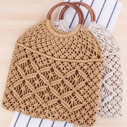 $enCountryForm.capitalKeyWord Australia - Factory wholesale women handbag summer new rattan hand woven bag women hollow handbag forest handmade cotton rope net holiday beach bag