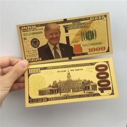 Venta al por mayor de Donald Trump dólar estadounidense Presidente del billete de banco hoja de oro Cuentas América Elección General Supply recuerdos falso cupón dinero E3408