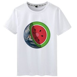 $enCountryForm.capitalKeyWord Australia - Globe t shirt Watermelon earth short sleeve tops Cut fadeless tees Unisex white colorfast clothing Pure color modal tshirt