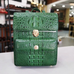 $enCountryForm.capitalKeyWord NZ - Authentic Crocodile Skin Female Lady Small Top-handle Backpack Genuine Alligator Leather Women's Flap Pocket Travel Bag Pack