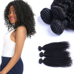 weft hair extensions 16 inch NZ - Peruvian Kinky Curly Weaves Virgin Human Hair Double Weft 3 Bundles 8-24 inch Hair Extensions 1B Black