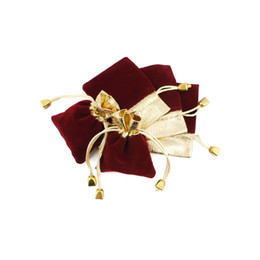 gold drawstring pouch UK - Velvet Drawstring Gifts Bags 7x9 9x12 12x16cm Wedding Christmas Party Favors Packaging Bag Gold Wine Red Jewelry Pouches