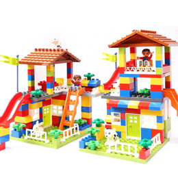 $enCountryForm.capitalKeyWord Australia - Gorock 178pcs 89pcs Diy City House Roof Big Particle Building Blocks Castle Educational Toy For Children Duplo Bricks Baby Gifts Y190606