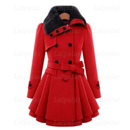 $enCountryForm.capitalKeyWord Australia - Winter Wool Coats For Women 2018 Fashion Casual Double Breasted Wram Thick Coat Fur Collar with Belt Overcoat Elegant Dress
