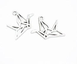 Origami Necklace Charms Australia - 100Pcs alloy Origami Paper Cranes Charms Antique silver Charms Pendant For necklace Jewelry Making findings 23x26mm