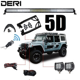 """Discount jeep light bar combo - 5D 52"""" 300W Dual Row Combo Straight Offroad LED Light Bar +18W Work Light + Remote Control Switch For JEEP Wrangler"""