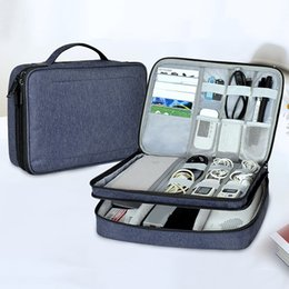 Travel Flash Drive Australia - Cable Organizer Bag Portable Case SD Cards Flash Drives Wires Earphones Double Layer Storage Box Travel Electronic Accessories