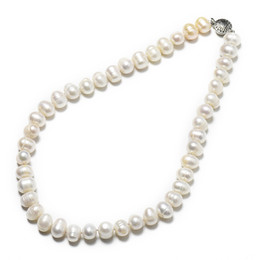 natural pearl beads mm 2019 - 11-12 mm Plump Freshwater Natural pearl Necklace with Natural white and Elliptical customized Beads cheap natural pearl
