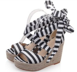 Ladies Soft Canvas Shoes Australia - Pop 2019 Ladies Summer Canvas Shoes Zapatos Mujer Woman Wedge Peep Toe Women Sandals Cross-tied Lace Up Platform Pumps Chaussure
