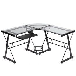 Toptan satış Bilgisayar masası l şeklinde masa cam ofis yazı mobilya klavye tepsisi