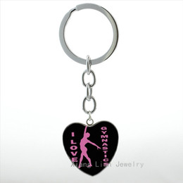 $enCountryForm.capitalKeyWord Australia - TAFREE I Love Gymnastics keychain classic fashion Gymnastics heart pendant key chain ring exquisite men women jewelry HP355