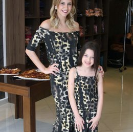 $enCountryForm.capitalKeyWord NZ - Mother and daughter matching outfits girls leopard grain suspender pants women dew shoulder short sleeve overall kids jumpsuits F6598