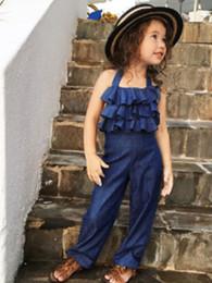 $enCountryForm.capitalKeyWord Australia - INS Baby Girls Romper Europe style Summer Ruffle Bow Lace-up Halter Kids Jumpsuit Fashion Kids Casual Cowboy Onesie Y1417