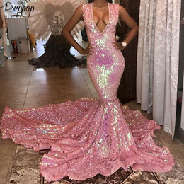 Wholesale sparkly club dresses resale online – Long Prom Dresses Sparkly V neck Sexy Mermaid Party Bling Bling African Black Girl Pink Prom Dress Long Train