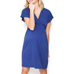 Maternity Pregnant Dresses Ruffle Ruched Cap Sleeve Cross V Neck Plus Size Summer Soft Breathable Breastfeeding Nursing Lady Dress