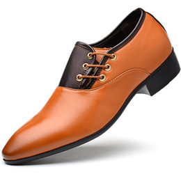 $enCountryForm.capitalKeyWord Australia - Newly Business Men PU Leather Shoes Formal Casual Flat Pointed Toe Lace-Up Shoes VK-ING