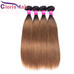 Discount two toned brown hair weave Silky Straight Ombre Extensions T1B 30 Peruvian Virgin Human Hair 3 Bundles Blonde Weaving Cheap Two Tone Auburn Brown C