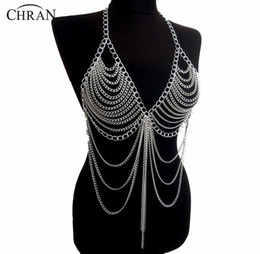 alloy bodies UK - Chran New Fashion Beach Chain Necklaces Alloy Chain Bra Long Necklaces & Pendants For Women Sexy Statement Body Jewelry Bc0395 J190530