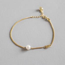 $enCountryForm.capitalKeyWord Australia - New Fashion Wedding Band Natural Freshwater Pearl Bracelets For Women 925 Sterling Silver Link Chain Bracelet Pulseras Mujer
