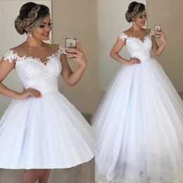 Wholesale long sleeve short floral dress for sale – plus size White Jewel Neck Lace in style Wedding Dresses Ball Gown Appliques with Detachable Train Long Bridal Gowns Back Wedding Gown Plus Size