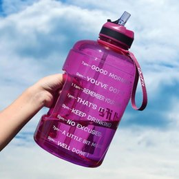 gym water bottles Australia - QuiFit 3.78L 2.2L 1.3L 128oz 1 Gallon Water Bottle with Straw Clear Plastic Drinking Bottles Big GYM Jug Cup BPA Free GYM Sports SH190925