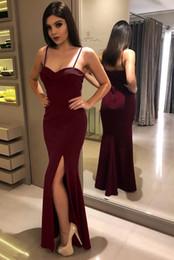 Red Dress Skirt Cheap Australia - New Red Evening Dresses 2019 Deep Strap Sweep Train Piping Side Split Modern Long Skirt Cheap Transparent Prom Formal Gowns Pageant Dress