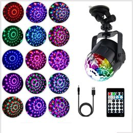 Usb crystal ball online shopping - 15 Colors LED IR Remote RGB LED Crystal Magic Rotating Ball Stage Lights USB V Colorful ktv DJ light disco light Music control