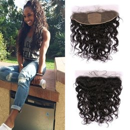 $enCountryForm.capitalKeyWord Australia - Brazilian Human Hair Silk Base Frontal 13x4 Water Wave Free Middle Part Lace Frontal Closure with Baby Hair Natural Color FDshine