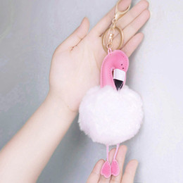 anchor handbags Australia - Fashion- Bird Keychain Artificial Rabbit Fur Ball Bird Keyring Handbag Pendant Car Key Chian Ring Holder Gifts K345