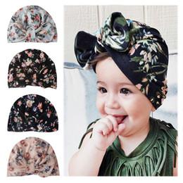 $enCountryForm.capitalKeyWord Australia - Europe Infant Baby Girl Florals Hat Bowknot Headwear Hat Child Toddler Kids Beanies Turban Bowknot Hats 4 Colors