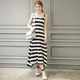 $enCountryForm.capitalKeyWord Australia - Pop2019 Suit-dress Urban Black And White Stripe Sleeveless Dress A Summer