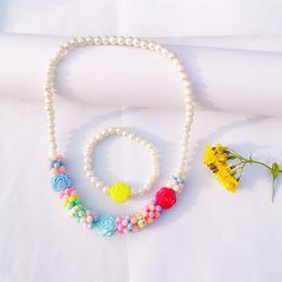$enCountryForm.capitalKeyWord Australia - Fashion Pearl Flower Necklace Bracelet Set For Child Children Gift Acrylic Candy Bohemia Color Bracelets For Kid Jewelry