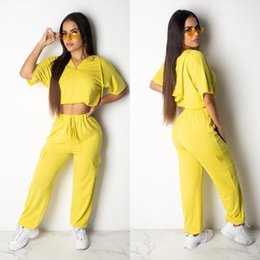 $enCountryForm.capitalKeyWord NZ - Women 2 Piece Set Summer Clothes Sportswear Sports Suit Sweatsuit Outfit T-shirt Hoodies Crop Top Leggings Pants Natural Color Plus Size 561