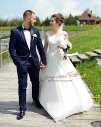 $enCountryForm.capitalKeyWord Australia - 2019 A-Line wedding dresses sheer neck with lace appliques tulle overskirts Princess custom made Cheap country Bridal Dresses Plus Size