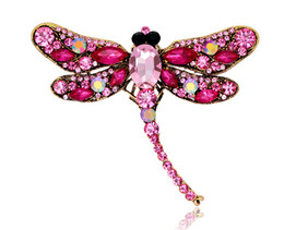 wholesale rhinestone brooches Australia - Big dragonfly brooch Europe and America vintage alloy rhinestone brooch silk scarf buckle ladies animal sweater pin