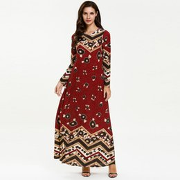 56a5b001d0f12 Fashion islamic drssses women long sleeve casual printed o neck middle east dubai  muslim plus size 4xl party long maxi dress female robes