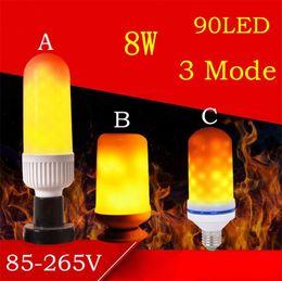 Venta al por mayor de LED Efecto de llama Bombillas E27 2835SMD 8W 3 modos Parpadeo Emulación Lámparas de llama decorativas para Navidad Decoración de Halloween