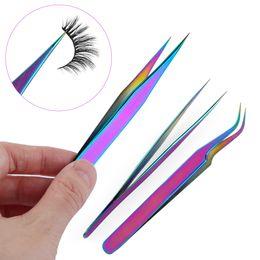 $enCountryForm.capitalKeyWord Australia - 1pc Colorful Stainless Steel Eyelashes Tweezers False Fake Lashes Curler Extension Tweezers Nippers Applicator Clip Makeup Tools