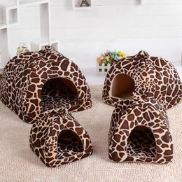 $enCountryForm.capitalKeyWord Australia - Soft Strawberry Leopard Pet Dog Cat House Tent Kennel Doggy Winter Warm Cushion Basket Animal Bed Cave Pet Products Supplies D19011201