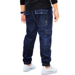 $enCountryForm.capitalKeyWord Australia - Men Multi Big Pockets Drawstring Denim Jeans Stretch Slim Fit Denim Large Size 32 34 36 38 40 42 44 46 Full Long For Men's Jeans