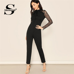 Long Jumpsuits Xs Australia - Sheinside Tie Neck Sheer Lace Sleeve Solid Jumpsuit Black Skinny Jumpsuits For Women 2019 High Waist Long Sleeve Sexy Jumpsuit