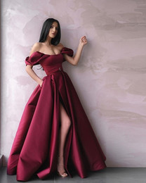 red carpet birthday party Australia - Fashion Dark Red Evening Mother of the Bride Dresses Off the shoudler 2020 with Sleeves Side Slit Ruched Birthday Party Prom Formal Dress