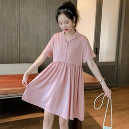 Wholesale maternity clothes collar resale online - Summer New Maternity Dress Short Sleeve Turn Down Collar Pregnancy A Line Dresses Cotton And Linen Clothes For Pregnant Women