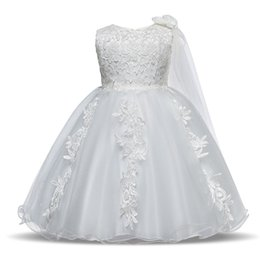 Discount french kids clothes - Little Girl Crochet Lace Mesh Dresses Princess Embroidery Flower Wedding Party Dress Kids Sleeveless Baby Girl Clothes