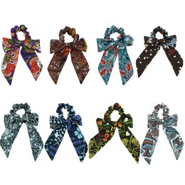 tie ponytail hair extensions NZ - Ethnic Flower Print Hair Scarf Bowknot Streamers Scrunchies Ponytail Holder Beach Dress Headbands Elastic Hair Ties for Girls