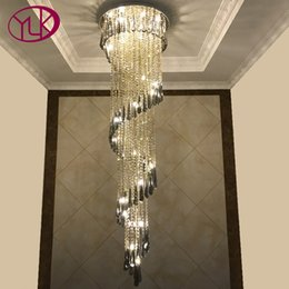Wholesale Youlaike Modern Chandelier Lighting Staircase Smoke gray Crystal Lamp Spiral Design Home Decoration Lighting Fixtures