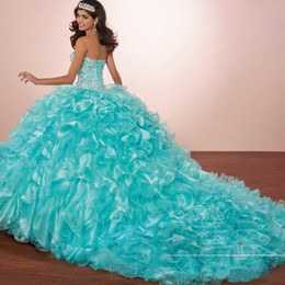 masquerade jackets UK - Masquerade Ball Gown Luxury Crystals Princess Puffy Quinceanera Dresses Turquoise Ruffles Vestidos De 15 Dress with Bolero jacket