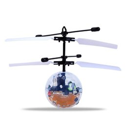 Packaged Toys Australia - New Year Gifts Toys Electric RC Fly Ball Infrared Induction Aircraft Flash LED Light Remote Plane Toy With Package Box EMS Shipping